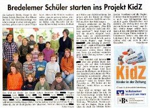 Januar 2010 - Bredelemer Schüler starten ins Projekt KidZ